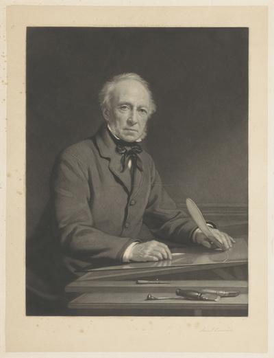 Portret van Samuel Cousins werkend aan een prent