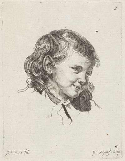 Studieblad: gezicht van een kind; 1r Cahier de Têtes de différens Caracteres