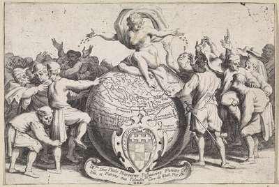 Geblinddoekte Fortuna deelt munten uit; Italiaanse handwerkslieden en verkopers