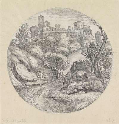 Landschap met twee ruiters en een kasteel