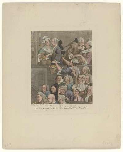 The Laughing Audience / L'Audience Risant; Een lachend publiek van mannen en vrouwen in een theater
