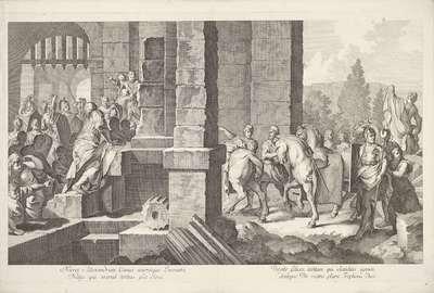 Militaire stoet entert gebouw; Triomftocht van Alexander de Grote in Babylon