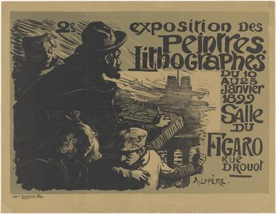Affiche voor de tweede tentoonstelling van de Peintres Lithographes; 2e exposition des peintres lithographes