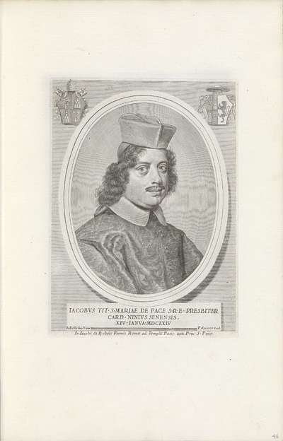 Portret van kardinaal Giacomo Filippo Nini; Effigies Nomina et Cognomina S.D.N. Alexandri Papae VII et RR. DD. SRE. Cardd (...).