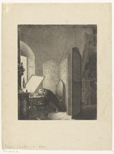 Rembrandt etsend in zijn atelier; Rembrandt dans son atelier