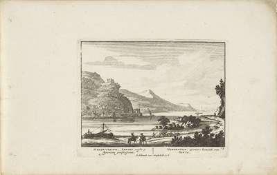 Gezicht op Hammerstein aan de Rijn met een ruïne; Vermakelijke gezigten aan den Rhijnstroom; Admirandorum quadruplex spectaculum