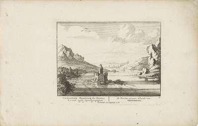 Image from object titled Tolburcht Pfalzgrafenstein in de Rijn vanuit het Noorden gezien; Vermakelijke gezigten aan den Rhijnstroom; Admirandorum quadruplex spectaculum