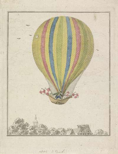 Image from object titled Luchtballon van de heer Augustin, 1806