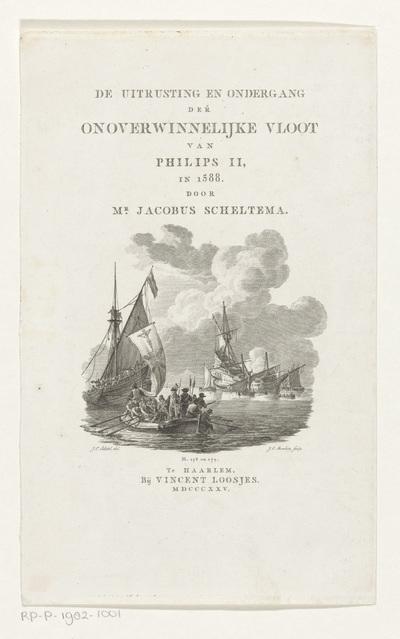 Entering van de Spaanse Armada; Titelpagina voor: Jacobus Scheltema, De uitrusting en ondergang der onoverwinnelijke vloot van Philips II, in 1588, 1825