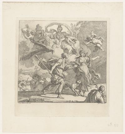 Dido en Aeneas overvallen door een storm