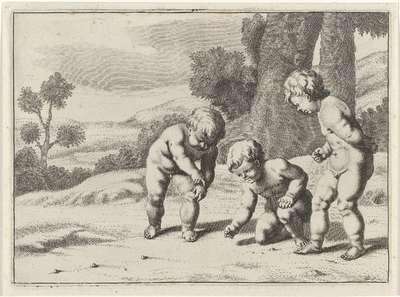 Knikkerspel; Spelende kinderen (serie B)