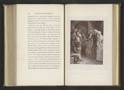 Fotoreproductie van een prent door Thomas Stothard, voorstellend een illustratie voor The Vicar of Wakefield door Oliver Goldsmith; The Vicar's exhortation of his fellow prisoners