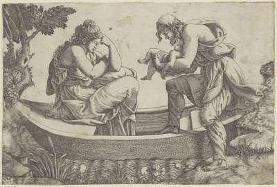 Vrouw in een bootje met man en baby
