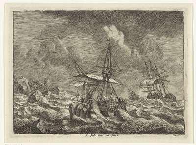 Drie zeilschepen in een storm voor een rotsachtige kust