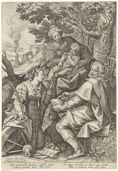Image from object titled Heilige Familie, vergezeld door Catharina van Alexandrië