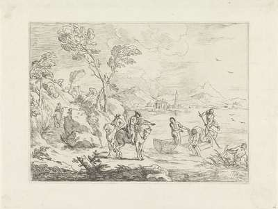 Ruiters en vissers aan oever van meer; Lago di Bolsena