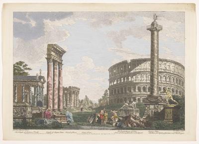 Gezicht op de ruïnes van de Tempel van Jupiter Stator, het Amfitheater van Statilius Taurus en andere monumenten te Rome; Romeinse oudheid