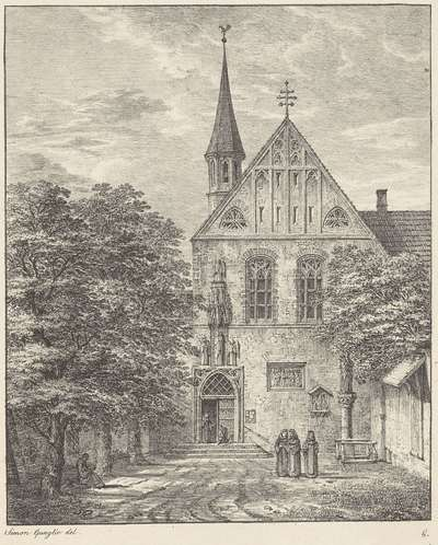 Gezicht op een gotisch klooster