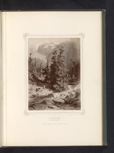 Fotoreproductie van een schilderij van de berg Handeck; An der Handeck. Im Oberhasli-Thal