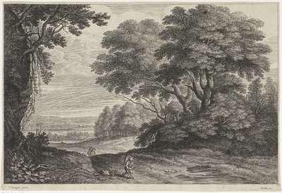 Reizigers in een boslandschap; Landschappen