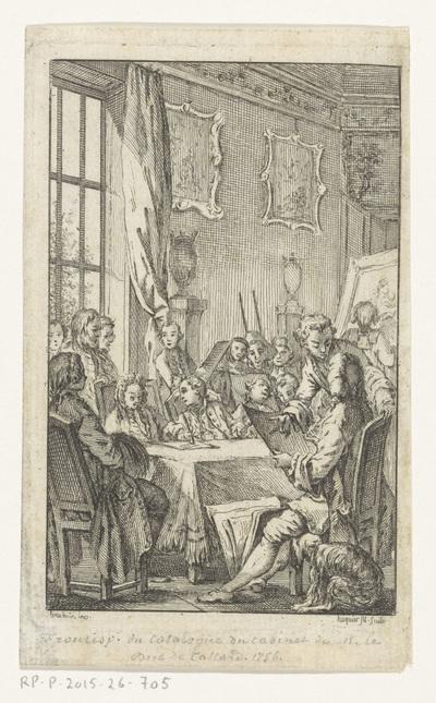 Veiling; Titelpagina voor: Pierre Rémy, Catalogus raisonné des tableaux, sculptures (...) qui composent le Cabinet de feu Monsieur le Duc de Tallard, 1756