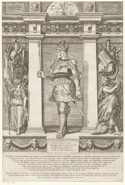 Portret van Rudolf I van Habsburg, Rooms-Duits koning; Portretten van leden van het Oostenrijkse Huis; Austriacae gentis imaginum