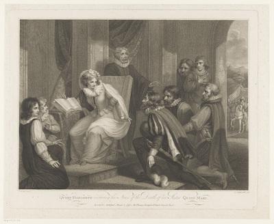 Koningin Elizabeth ontvangt het nieuws van het overlijden van Koningin Maria; Queen Elizabeth receiving the News of the Death of her Sister Queen Mary