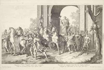 Militaire stoet met Alexander de Grote op triomfwagen; Triomftocht van Alexander de Grote in Babylon