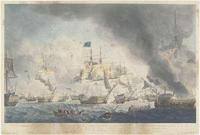 Slag bij Kamperduin (1797): nederlaag van de Bataafse vloot; The Dutch Fleet Defeated on the Afternoon of the 11th October 1797, shewing the Flag Ship of Admiral De Winter dismasted (...)