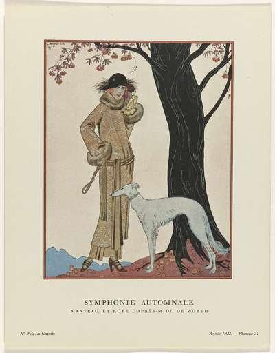 Gazette du Bon Ton, 1922 - No. 9 : Symphonie automnale / Manteau, et Robe d'après-midi, de Worth
