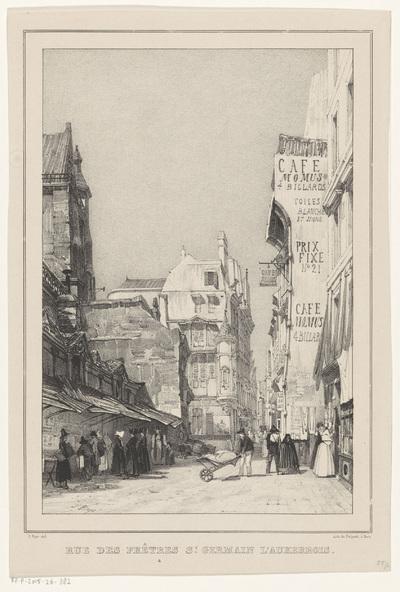Gezicht op de Rue des Prêtres-Saint-Germain-l'Auxerrois; Rue des Prêtres St. Germain l'Auxerrois