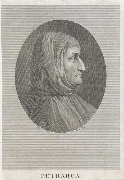 Portret van Francesco Petrarca; Portretten van beroemde Italianen in ovalen