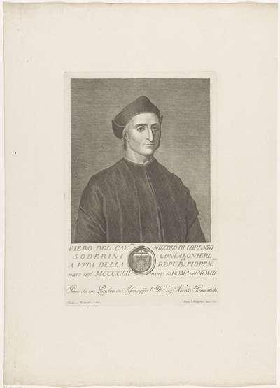 Portret van Piero Soderini; Portretten van beroemde Italianen met wapenschild in ondermarge