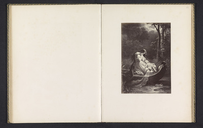 Fotoreproductie van een prent, voorstellende Ottilie met de zoon van Charlotte in een boot