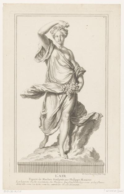 Sculptuur van een jonge vrouw op een wolk met rozen in haar hand; L'Air; Recueil de cinquante des plus belles figures antiques et moderns