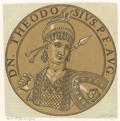 Medaillon met een portret van keizer Theodosius III; Icones imperatorum Romanorum