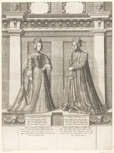 Dubbelportret van Isabella van Portugal en keizerin Anna; Portretten van leden van het Oostenrijkse Huis; Austriacae gentis imaginum