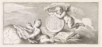 Twee putti in de wolken met een medaillon, de wereldbol en een boek; Temple des Arts