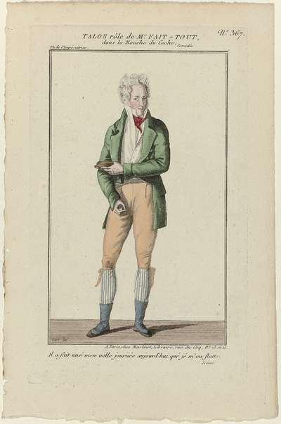 Petite Galerie Dramatique, 1796-1843, No. 367: Talon rôle de Mr Fait-Tout (...)