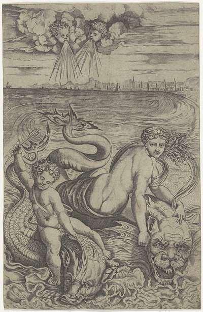 Venus en Amor gedragen door dolfijnen