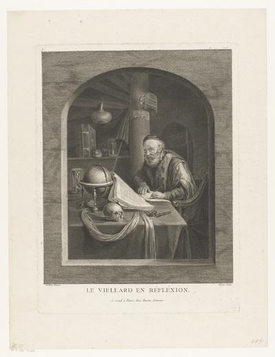 Geleerde in zijn studeervertrek, schrijvend aan een tafel; Le Viellard en Réfléxion.