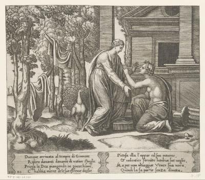Juno weigert hulp aan Psyche; Verhaal van Amor en Psyche