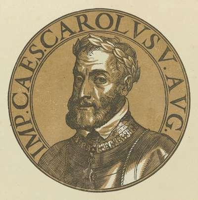 Medaillon met een portret van keizer Karel V; Icones imperatorum Romanorum
