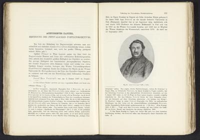 Fotoreproductie van een prent, voorstellende een portret van Joseph Petzval; Josef Petzval (*1807, +1891)