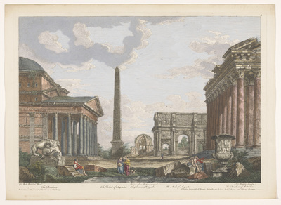 Gezicht op de ruïnes van het Pantheon, de Boog van Constantijn en andere monumenten te Rome; Romeinse oudheid