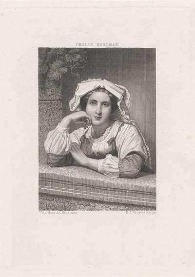 Jonge vrouw met muts