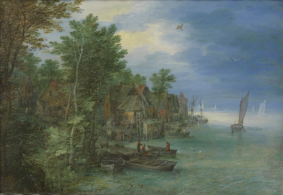 Image from object titled View of a Village along a River