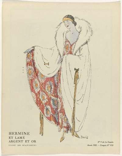 Gazette du Bon Ton, 1922 - No. 9 : Hermine et lamé argent et or / Tissu de Bianchini