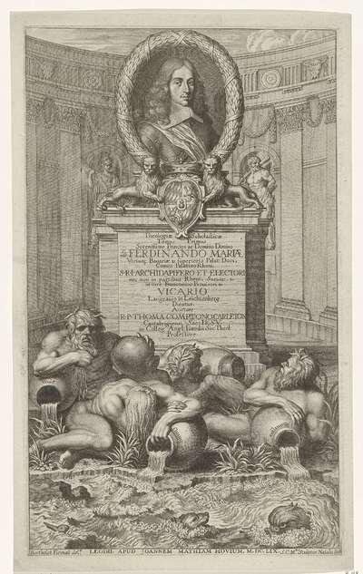 Portret van Ferdinand Maria van Beieren; Titelpagina voor: Theologicae Scholasticae tomus primus (...), 1659