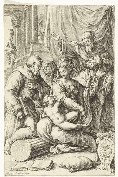 Maria met kind, Jozef, de heilige Anna en twee mannelijke heiligen; Paradigmata graphices variorum artificum